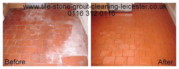 Quarry tile with efflorescence clean and seal in Blaby Leicestershire