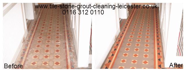 Hard Floor Victorian Tiled Hallway polishing in Uppingham