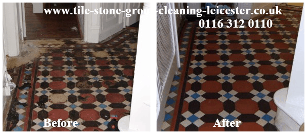 Victorian tile floor polished and restored Leicester